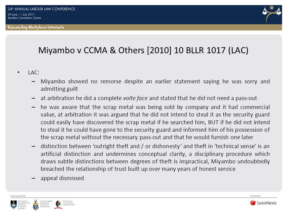Miyambo v CCMA & Others [2010] 10 BLLR 1017 (LAC)
